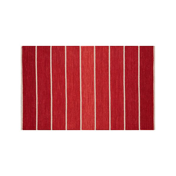 Bold Red Striped Wool-Blend Dhurrie 3'x5' Rug
