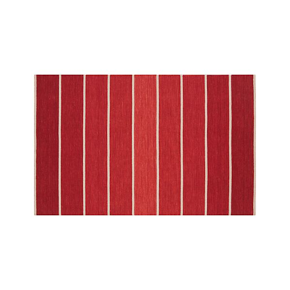 Bold Red Striped Wool-Blend Dhurrie 5'x8' Rug