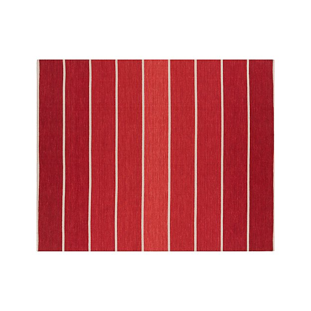 Bold Red Striped Wool Blend Dhurrie 8 X10 Rug Crate And