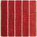 """Bold Red Striped Wool-Blend Dhurrie 12"""" sq. Rug Swatch"""