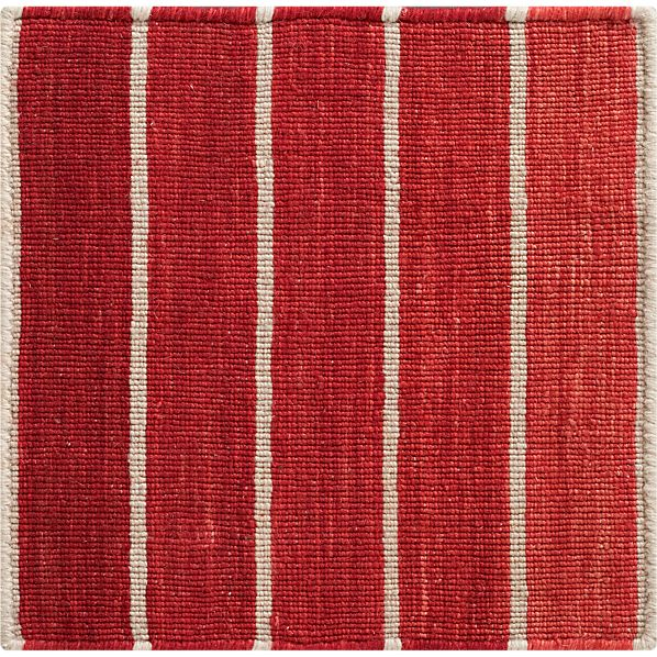 "Bold Red Striped Wool-Blend Dhurrie 12"" sq. Rug Swatch"