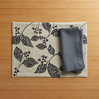 Botanical Sketch Placemat and Helena Graphite Linen Napkin