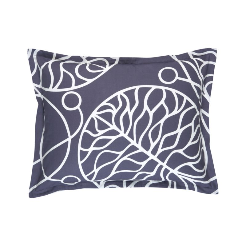 "A modern organic pattern, Bottna is fresh and calm. Designed by Anna Danielsson in 2003, winding decorative vines present a detailed study in calligraphy embellished water lily leaves, reflecting the spirit of Art Nouveau and the designer's concern about the environment. Pillow sham has a 1"" flange and generous back flap closure. Bed pillows also available.<br /><br /><NEWTAG/><ul><li>Pattern designed by Anna Danielsson; 2003</li><li>100% cotton sateen</li><li>300-thread-count</li><li>Machine wash cold</li><li>Made in Pakistan</li></ul>"