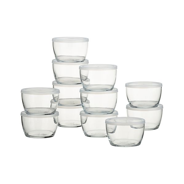 Set of 12 Storage Bowls With Clear Lids