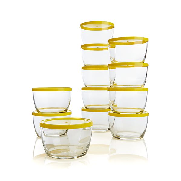 16-oz. Bowls Set of 12 with Yellow Lids