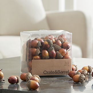 Natural acorn caps top off faux nuts just ripe for scattering over the holiday table or clustering with dried botanicals and seasonal gourds in a vase or low bowl.
