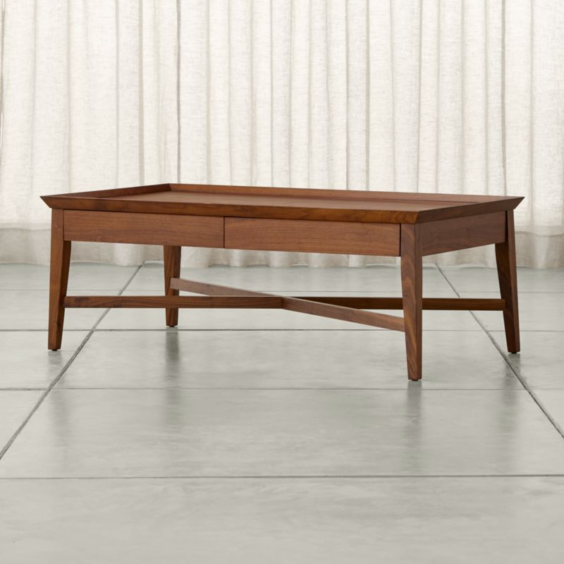 Bradley walnut coffee table with drawers crate and barrel for Coffee table crate and barrel
