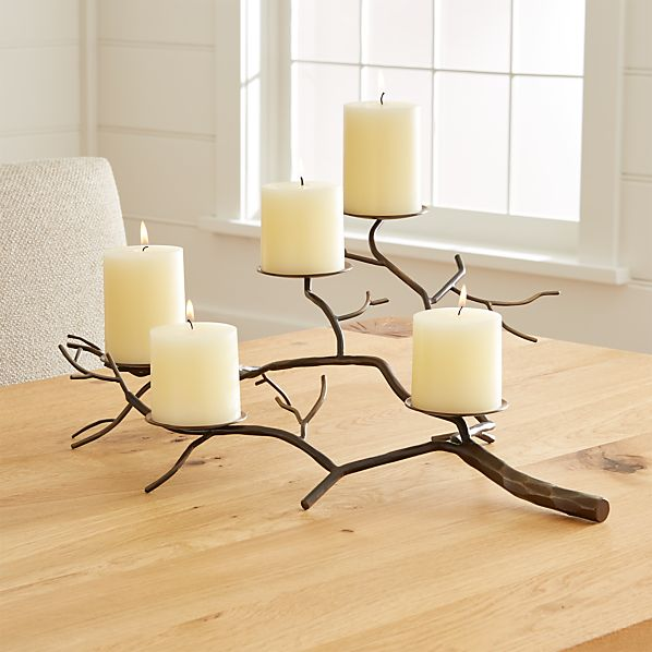 Branch Brass Pillar Candle Holder