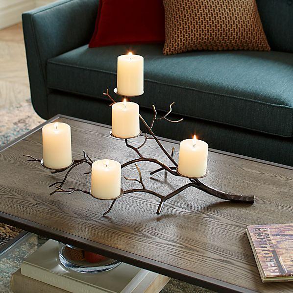 Branch Brass Pillar Candle Holder