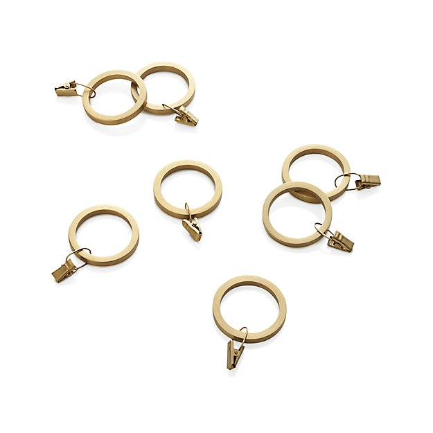 Set Of 7 Brass Curtain Rings