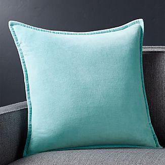 """Brenner Aqua 20"""" Velvet Pillow with Feather-Down Insert"""