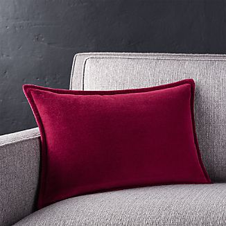 "Brenner Beet Red 18""x12 "" Velvet Pillow"