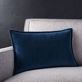 "Brenner Indigo Blue 18""x12 "" Velvet Pillow"