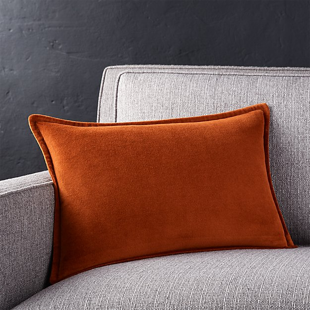 Brenner Rust Velvet Pillow Crate And Barrel