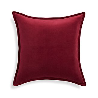 "Brenner Beet Red 20"" Velvet Pillow"