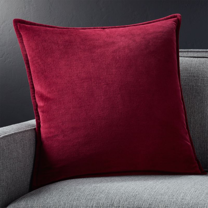 "Brenner Beet Red 20"" Velvet Pillow with Feather-Down Insert"
