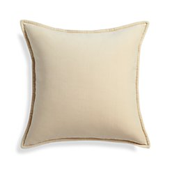 "Brenner Cream 20"" Velvet Pillow with Feather-Down Insert"