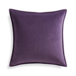 "Brenner Grape Purple 20"" Velvet Pillow with Feather-Down Insert"