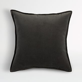 "Brenner Grey 20"" Velvet Pillow with Down-Alternative Insert"