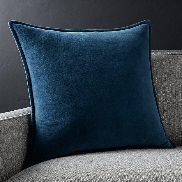 """Brenner Indigo Blue 20"""" Velvet Pillow with Feather-Down Insert."""