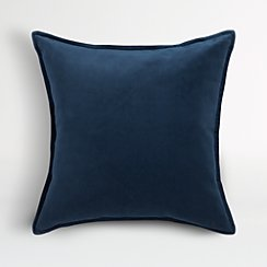 "Brenner Indigo Blue 20"" Velvet Pillow with Feather-Down Insert."