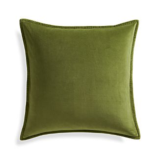 "Brenner Leaf Green 20"" Velvet Pillow"