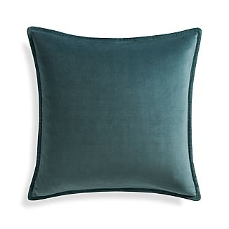 "Brenner Slate Grey 20"" Velvet Pillow with Down-Alternative Insert"