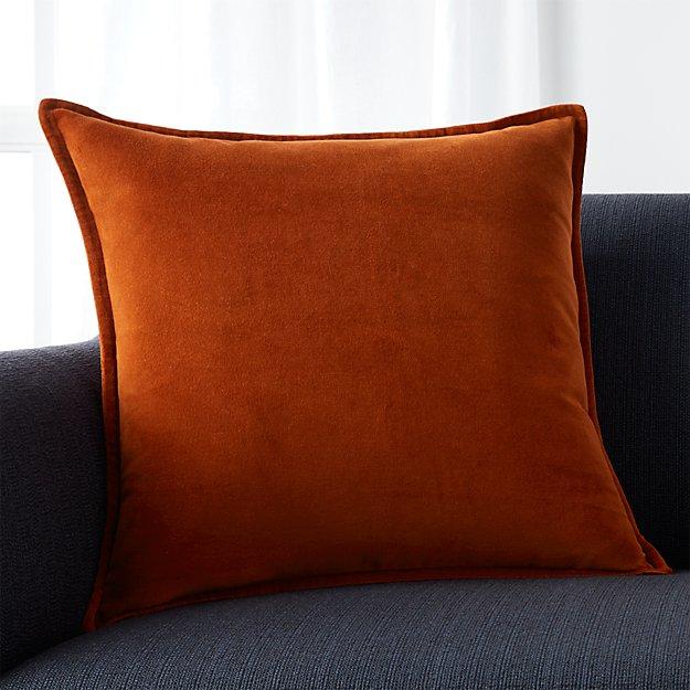 """Brenner Rust Orange 20"""" Velvet Pillow with Feather-Down Insert"""