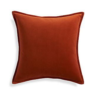 "Brenner Rust Orange 20"" Velvet Pillow with Feather-Down Insert"