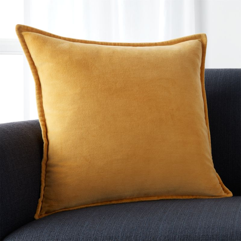 "Brenner Yellow 20"" Velvet Pillow with Feather-Down Insert"