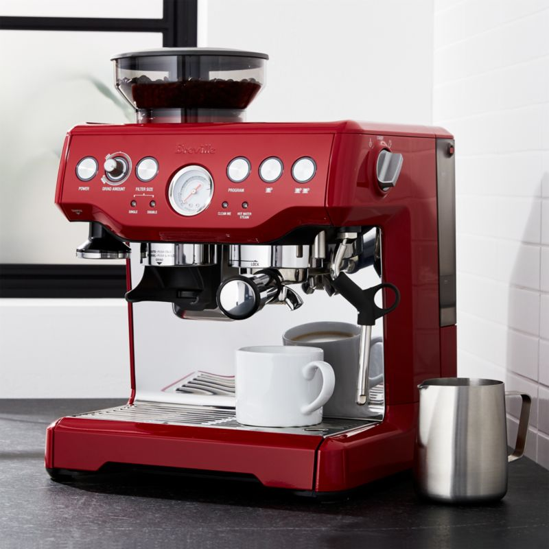 Breville Coffee Maker Water Not Going Out : Breville Red Barista Express Espresso Machine Crate and Barrel
