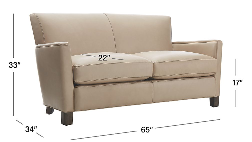 Briarwood Beige Leather Loveseat Crate And Barrel