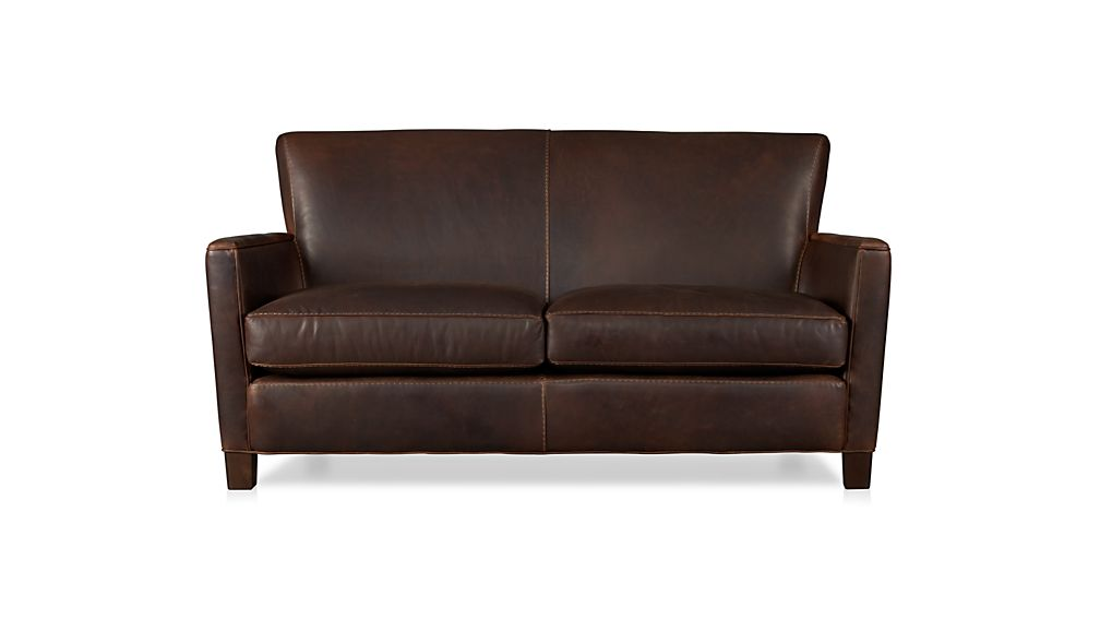 Image gallery leather loveseat for Leather sofa deals