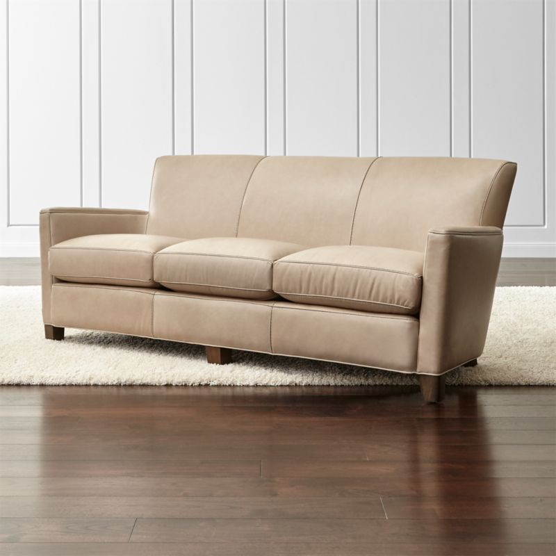 Briarwood Leather Sofa Belaire Platinum Crate And Barrel