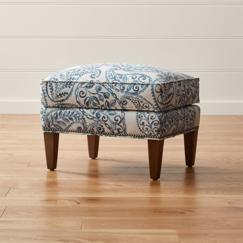 Brielle ottoman bloomfield bluebell crate and barrel for Crate and barrel pouf