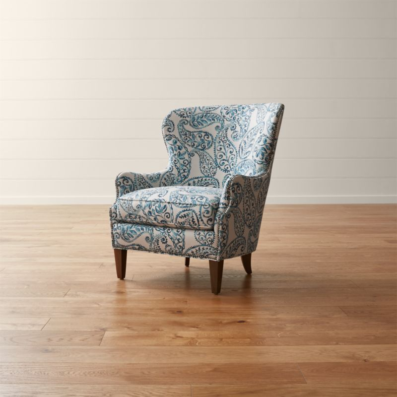 Brielle Blue Wingback Armchair | Crate and Barrel