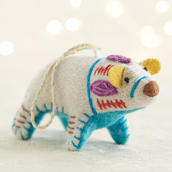 Bright Polar Bear with Aqua Belly Ornament