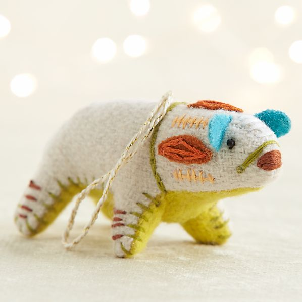 Bright Polar Bear with Golden Belly Ornament