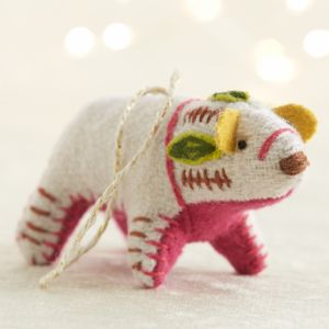 Bright Polar Bear with Pink Belly Ornament