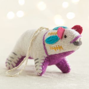 Bright Polar Bear with Purple Belly Ornament