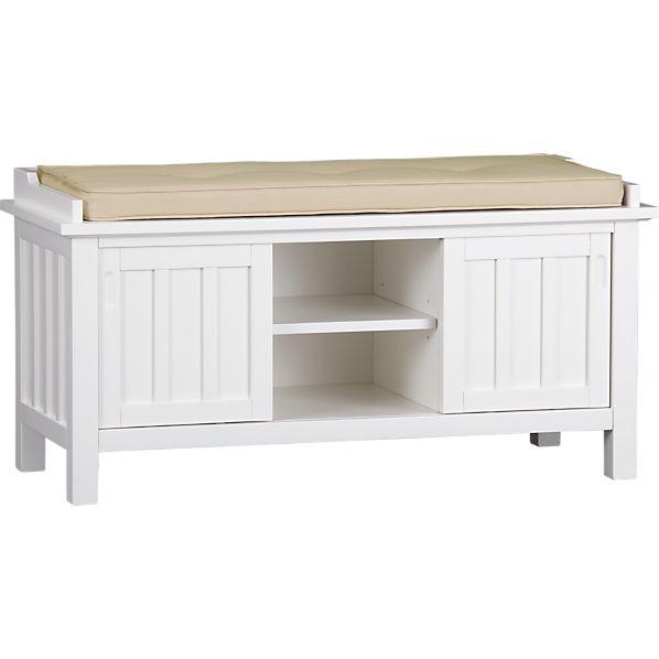 Brighton White Storage Bench with Natural Cushion