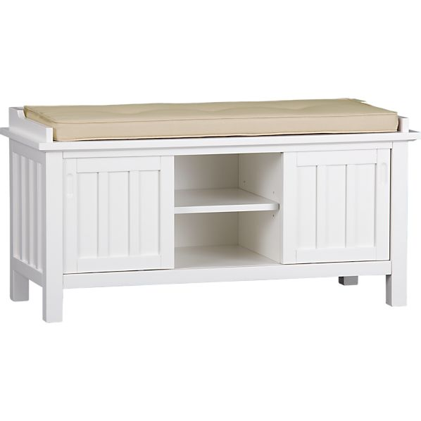 Brighton White Storage Bench with Natural Cushion