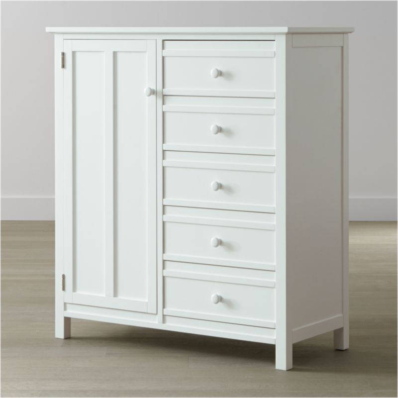 Brighton modernizes traditional cottage styling with this crisp white wardrobe, a Crate and Barrel classic. Crafted of solid poplar and engineered wood, this roomy, 5-drawer wardrobe features graphic stepped detailing on the door and drawers, a white lacquer finish and porcelain knobs for a fresh, pristine aesthetic. <NEWTAG/><ul><li>Designed by Blake Tovin of Tovin Design</li><li>Solid poplar and engineered wood with white lacquer finish</li><li>Naturally expands and contracts with changes in humidity</li><li>5 drawers</li><li>3 adjustable shelves</li><li>Metal side-mounted glides</li><li>White porcelain knobs</li><li>Made in Vietnam</li></ul>