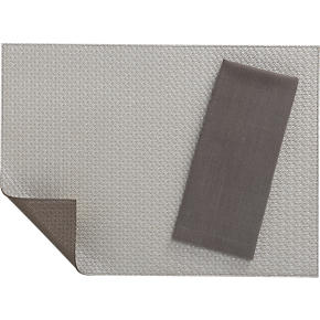 Bristol Warm Silver-Bronze Placemat and Lustre Silver Napkin