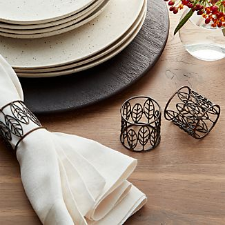 Bronze Leaf Metal Napkin Ring