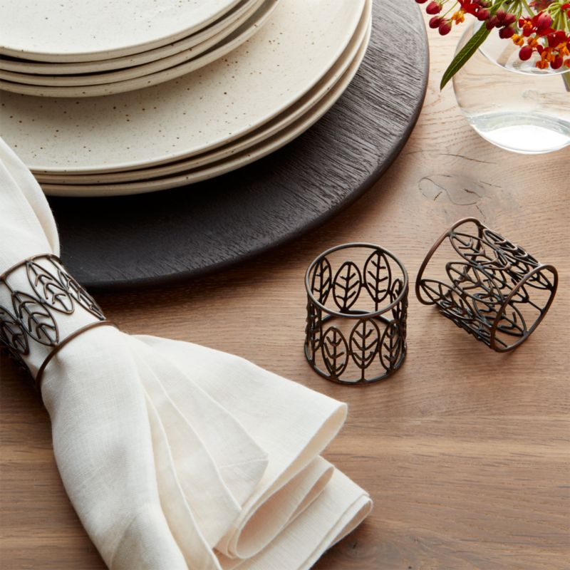 Bronze Leaf Metal Napkin Ring