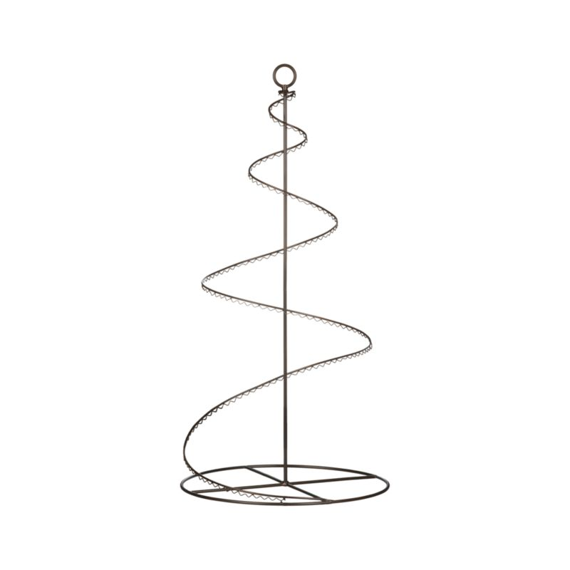 A graceful 3-foot spiral of bronzed wire with scalloped trim is handcrafted to display two dozen of your favorite ornaments. Pieces separate to fold flat for out-of-season storage.<br /><br /><NEWTAG/><ul><li>100% iron</li><li>Antiqued bronze finish</li><li>36 hooks included</li><li>Clean with a damp cloth</li></ul>