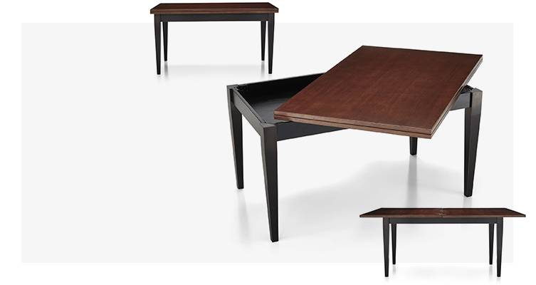 Flip Large Bruno Dining Table shown with seating of six and eight.