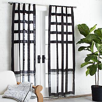 """Brush Black Ikat 36""""x84"""" Curtain Panel"""
