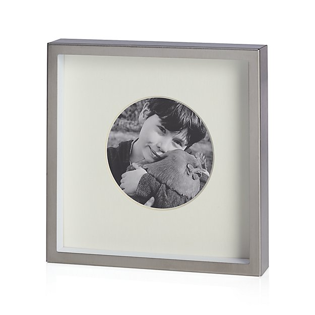 """Brushed Silver Frame 3.25"""" Round"""